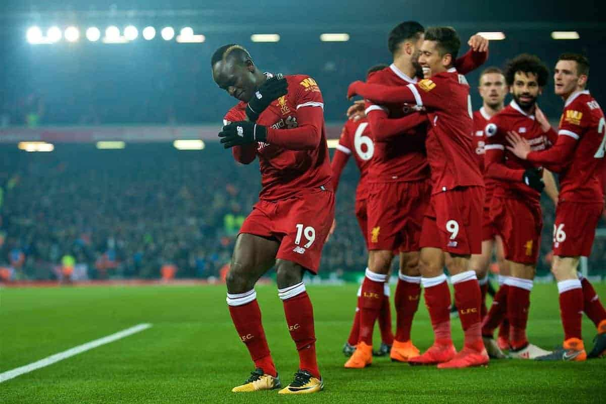 LIVERPOOL, ENGLAND - Saturday, March 3, 2018: Liverpool's Sadio Mane celebrates scoring the second goal during the FA Premier League match between Liverpool FC and Newcastle United FC at Anfield. (Pic by Peter Powell/Propaganda)