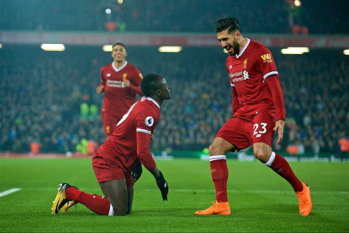LIVERPOOL, ENGLAND - Saturday, March 3, 2018: Liverpool's Sadio Mane celebrates scoring the second goal with team-mate Emre Can during the FA Premier League match between Liverpool FC and Newcastle United FC at Anfield. (Pic by Peter Powell/Propaganda)