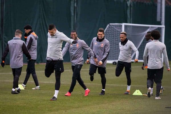 LIVERPOOL, ENGLAND - Monday, March 5, 2018: Liverpool's Dejan Lovren, Georginio Wijnaldum, Roberto Firmino, Nathaniel Clyne during a training session at Melwoood ahead of the UEFA Champions League Round of 16 2nd leg match between Liverpool FC and FC Porto. (Pic by Paul Greenwood/Propaganda)