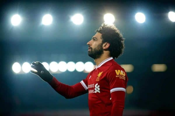 LIVERPOOL, ENGLAND - Saturday, March 3, 2018: Liverpool's Mohamed Salah during the FA Premier League match between Liverpool FC and Newcastle United FC at Anfield. (Pic by Peter Powell/Propaganda)