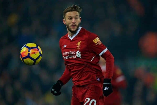 LIVERPOOL, ENGLAND - Saturday, March 3, 2018: Liverpool's Adam Lallana during the FA Premier League match between Liverpool FC and Newcastle United FC at Anfield. (Pic by Peter Powell/Propaganda)