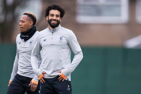 LIVERPOOL, ENGLAND - Monday, March 5, 2018: Liverpool's Nathaniel Clyne and Mohamed Salah during a training session at Melwoood ahead of the UEFA Champions League Round of 16 2nd leg match between Liverpool FC and FC Porto. (Pic by Paul Greenwood/Propaganda)