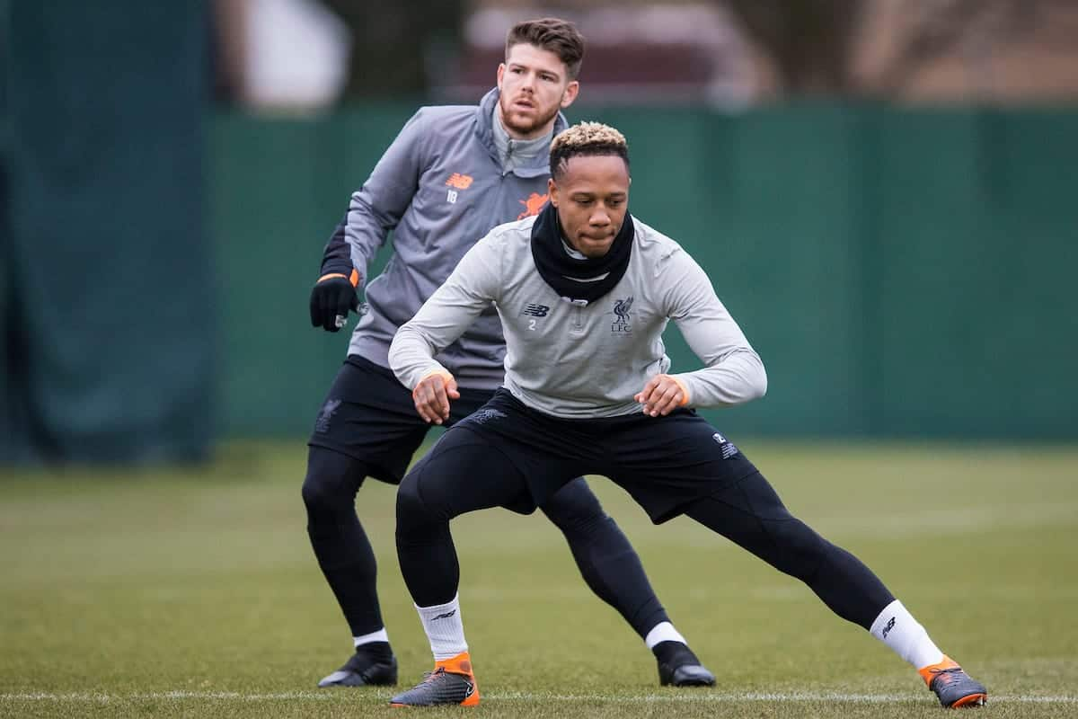 LIVERPOOL, ENGLAND - Monday, March 5, 2018: Liverpool's Alberto Moreno and Nathaniel Clyne during a training session at Melwoood ahead of the UEFA Champions League Round of 16 2nd leg match between Liverpool FC and FC Porto. (Pic by Paul Greenwood/Propaganda)