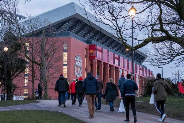 LIVERPOOL, ENGLAND - Monday, March 5, 2018: A Liverpool supporters make their way towards the stadium before the UEFA Champions League Round of 16 2nd leg match between Liverpool FC and FC Porto at Anfield. (Pic by Paul Greenwood/Propaganda)