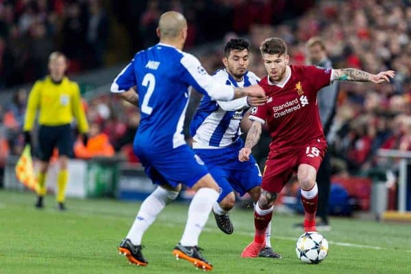 LIVERPOOL, ENGLAND - Monday, March 5, 2018: Liverpool's Alberto Moreno and FC Porto's Jesús Manuel Corona during the UEFA Champions League Round of 16 2nd leg match between Liverpool FC and FC Porto at Anfield. (Pic by Paul Greenwood/Propaganda)