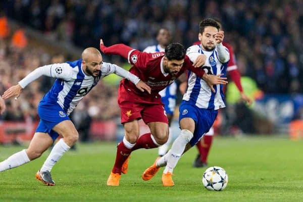 LIVERPOOL, ENGLAND - Monday, March 5, 2018: Liverpool's Emre Can battles with FC Portoís AndrÈ AndrÈ and Bruno Costa during the UEFA Champions League Round of 16 2nd leg match between Liverpool FC and FC Porto at Anfield. (Pic by Paul Greenwood/Propaganda)