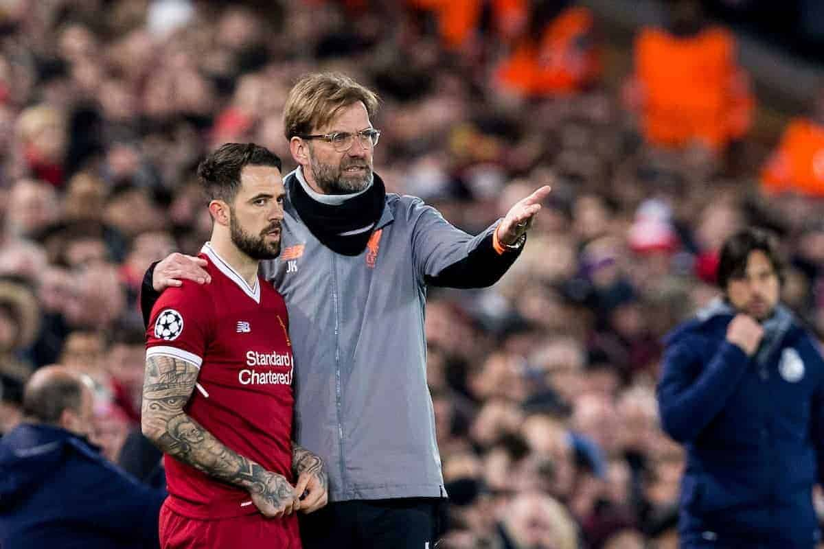LIVERPOOL, ENGLAND - Monday, March 5, 2018: Liverpool's manager Jürgen Klopp with Danny Ings before he is brought on as a second-half substitute during the UEFA Champions League Round of 16 2nd leg match between Liverpool FC and FC Porto at Anfield. (Pic by Paul Greenwood/Propaganda)
