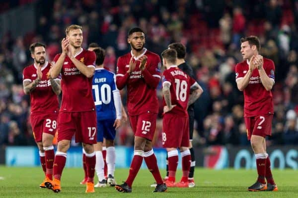 LIVERPOOL, ENGLAND - Monday, March 5, 2018: Liverpool's Danny Ings, Ragnar Klavan, Joe Gomez and James Milner applaud supporters following the UEFA Champions League Round of 16 2nd leg match between Liverpool FC and FC Porto at Anfield. (Pic by Paul Greenwood/Propaganda)