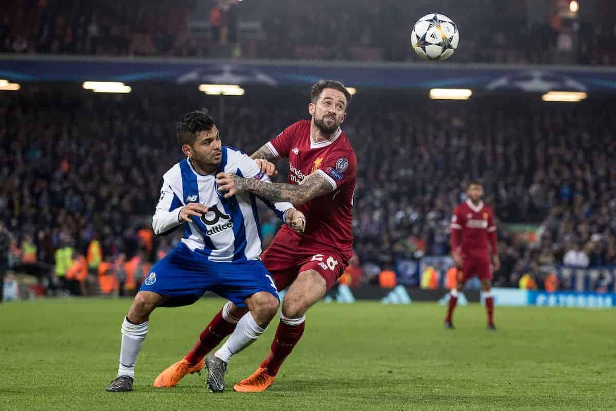 LIVERPOOL, ENGLAND - Monday, March 5, 2018: Liverpool's Danny Ings and FC Porto's Jesús Manuel Corona during the UEFA Champions League Round of 16 2nd leg match between Liverpool FC and FC Porto at Anfield. (Pic by Paul Greenwood/Propaganda)