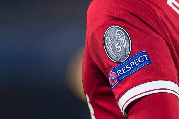 LIVERPOOL, ENGLAND - Monday, March 5, 2018: A detail shot of a badge showing the profile of the champions League trophy enclosing the number 5 and the UEFA Respect badge on the Liverpool home shirt during the UEFA Champions League Round of 16 2nd leg match between Liverpool FC and FC Porto at Anfield. (Pic by Paul Greenwood/Propaganda)