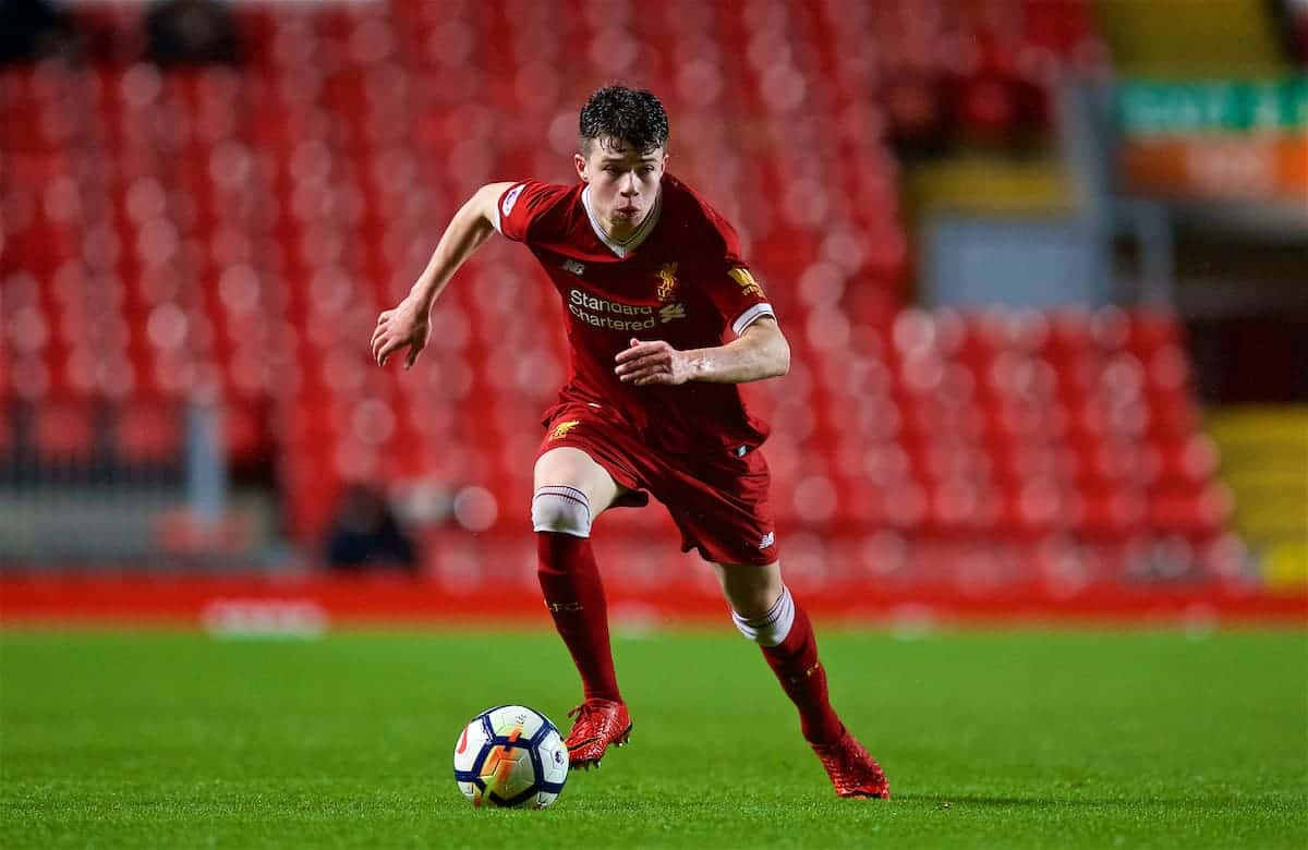 LIVERPOOL, ENGLAND - Friday, March 9, 2018: Liverpool's Neco Williams during the Under-23 FA Premier League 2 Division 1 match between Liverpool and Manchester United at Anfield. (Pic by David Rawcliffe/Propaganda)