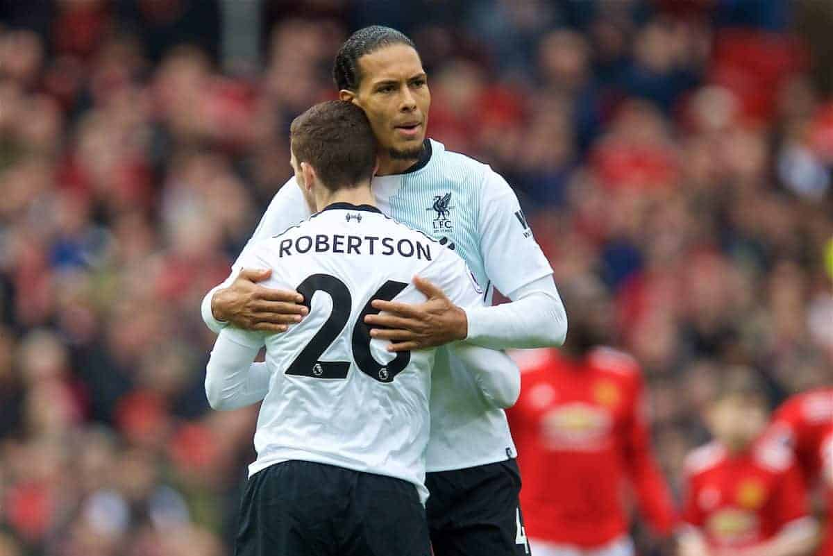 MANCHESTER, ENGLAND - Saturday, March 10, 2018: Liverpool's Virgil van Dijk and Andy Robertson before the FA Premier League match between Manchester United FC and Liverpool FC at Old Trafford. (Pic by David Rawcliffe/Propaganda)