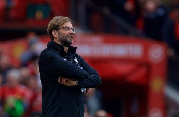MANCHESTER, ENGLAND - Saturday, March 10, 2018: Liverpool's manager Jürgen Klopp reacts as Manchester United score the second goal during the FA Premier League match between Manchester United FC and Liverpool FC at Old Trafford. (Pic by David Rawcliffe/Propaganda)