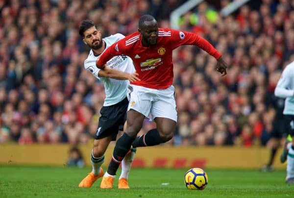 MANCHESTER, ENGLAND - Saturday, March 10, 2018: Manchester United's Romelu Lukaku and Liverpool's Emre Can during the FA Premier League match between Manchester United FC and Liverpool FC at Old Trafford. (Pic by David Rawcliffe/Propaganda)