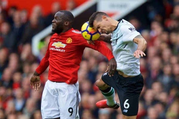 Manchester United's Romelu Lukaku and Liverpool's Dejan Lovren during the FA Premier League match between Manchester United FC and Liverpool FC at Old Trafford. (Pic by David Rawcliffe/Propaganda)
