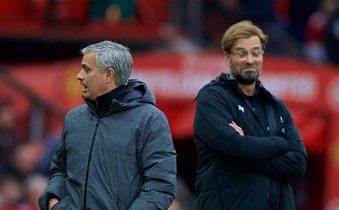 MANCHESTER, ENGLAND - Saturday, March 10, 2018: Liverpool's manager J¸rgen Klopp seems unimpressed with the words of Manchester United's manager Jose Mourinho during the FA Premier League match between Manchester United FC and Liverpool FC at Old Trafford. (Pic by David Rawcliffe/Propaganda)