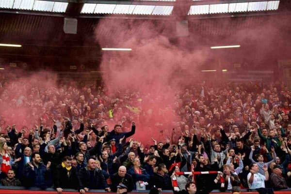 MANCHESTER, ENGLAND - Saturday, March 10, 2018: Liverpool supporter sing despite losing 2-1 to Manchester United during the FA Premier League match between Manchester United FC and Liverpool FC at Old Trafford. (Pic by David Rawcliffe/Propaganda)