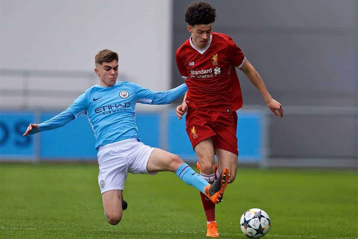 MANCHESTER, ENGLAND - Wednesday, March 14, 2018: Liverpool's Rafael Camacho and Manchester City's Iker Pozo during the UEFA Youth League Quarter-Final match between Manchester City and Liverpool FC at the City Academy Stadium. (Pic by David Rawcliffe/Propaganda)