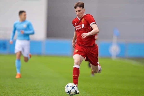 MANCHESTER, ENGLAND - Wednesday, March 14, 2018: Liverpool's Liam Millar during the UEFA Youth League Quarter-Final match between Manchester City and Liverpool FC at the City Academy Stadium. (Pic by David Rawcliffe/Propaganda)
