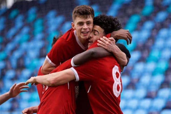 MANCHESTER, ENGLAND - Wednesday, March 14, 2018: Liverpool's Curtis Jones celebrates scoring the first goal with team-mate Adam Lewis during the UEFA Youth League Quarter-Final match between Manchester City and Liverpool FC at the City Academy Stadium. (Pic by David Rawcliffe/Propaganda)