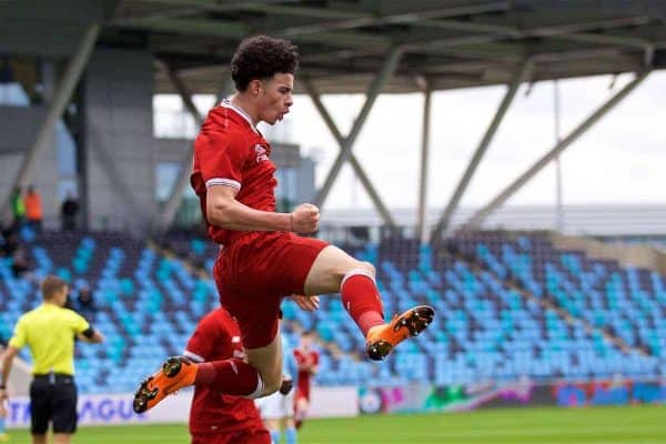 MANCHESTER, ENGLAND - Wednesday, March 14, 2018: Liverpool's Curtis Jones celebrates scoring the first goal during the UEFA Youth League Quarter-Final match between Manchester City and Liverpool FC at the City Academy Stadium. (Pic by David Rawcliffe/Propaganda)