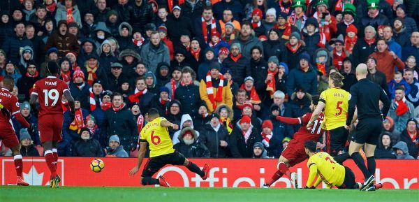 LIVERPOOL, ENGLAND - Saturday, March 17, 2018: Liverpool's Mohamed Salah scores the first goal during the FA Premier League match between Liverpool FC and Watford FC at Anfield. (Pic by David Rawcliffe/Propaganda)