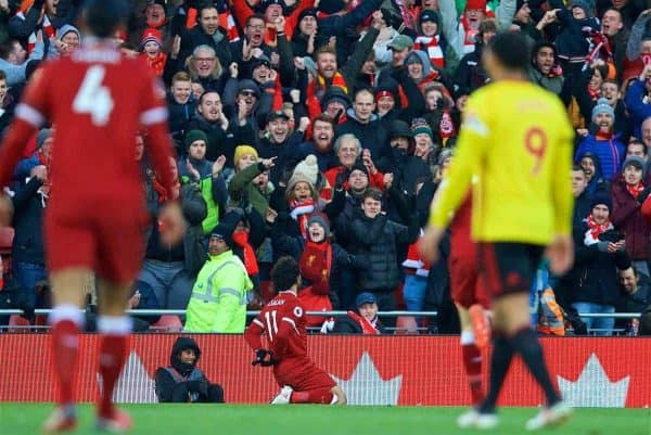 LIVERPOOL, ENGLAND - Saturday, March 17, 2018: Liverpool's Mohamed Salah celebrates scoring the first goal during the FA Premier League match between Liverpool FC and Watford FC at Anfield. (Pic by David Rawcliffe/Propaganda)
