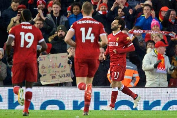 LIVERPOOL, ENGLAND - Saturday, March 17, 2018: Liverpool's Mohamed Salah celebrates scoring the second goal during the FA Premier League match between Liverpool FC and Watford FC at Anfield. (Pic by David Rawcliffe/Propaganda)
