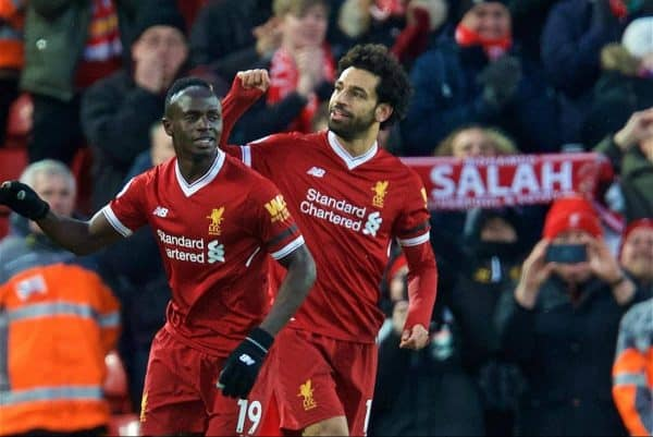 LIVERPOOL, ENGLAND - Saturday, March 17, 2018: Liverpool's Mohamed Salah celebrates scoring the second goal with team-mate Sadio Mane during the FA Premier League match between Liverpool FC and Watford FC at Anfield. (Pic by David Rawcliffe/Propaganda)