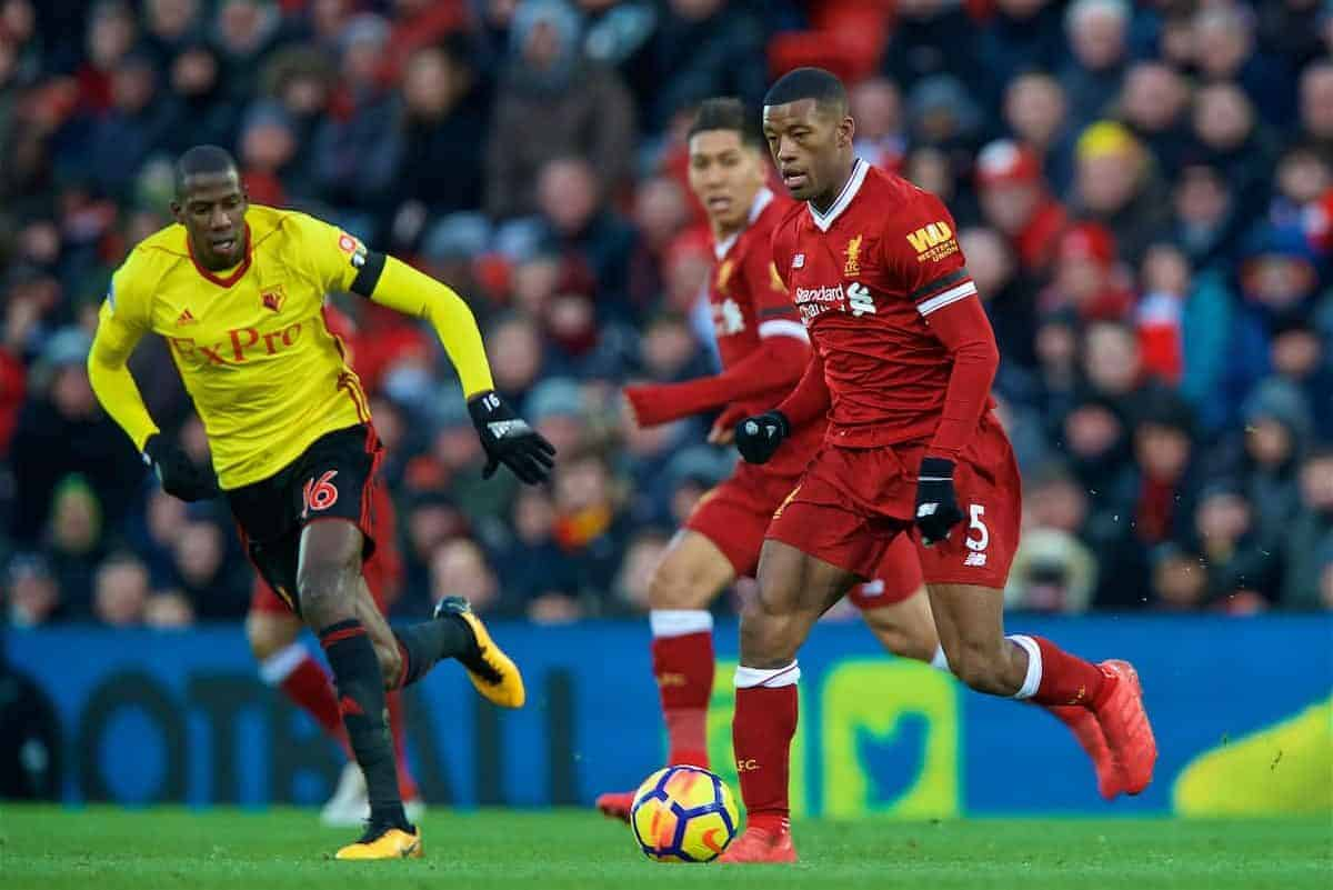 LIVERPOOL, ENGLAND - Saturday, March 17, 2018: Liverpool's Georginio Wijnaldum during the FA Premier League match between Liverpool FC and Watford FC at Anfield. (Pic by David Rawcliffe/Propaganda)