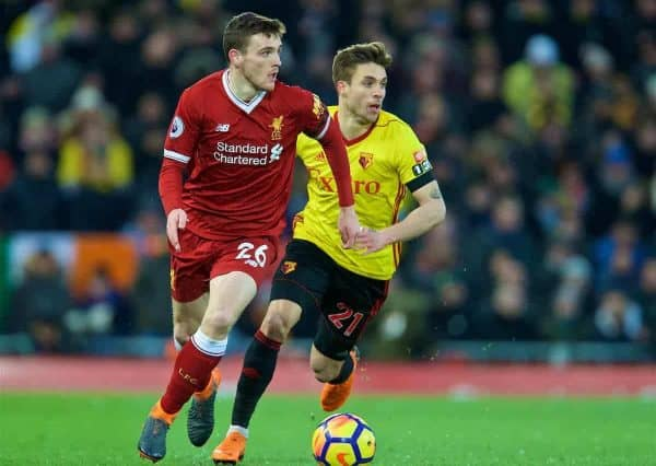 Liverpool's Andy Robertson during the FA Premier League match between Liverpool FC and Watford FC at Anfield. (Pic by David Rawcliffe/Propaganda)