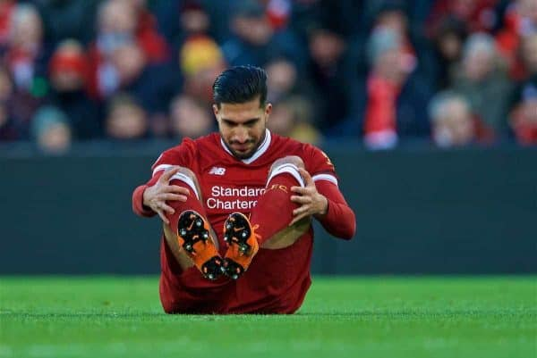 LIVERPOOL, ENGLAND - Saturday, March 17, 2018: Liverpool's Emre Can goes down injured during the FA Premier League match between Liverpool FC and Watford FC at Anfield. (Pic by David Rawcliffe/Propaganda)