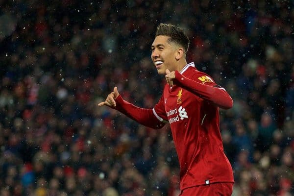 Liverpool's Roberto Firmino celebrates scoring the third goal during the FA Premier League match between Liverpool FC and Watford FC at Anfield. (Pic by David Rawcliffe/Propaganda)