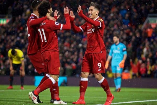 LIVERPOOL, ENGLAND - Saturday, March 17, 2018: Liverpool's Roberto Firmino celebrates scoring the third goal during the FA Premier League match between Liverpool FC and Watford FC at Anfield. (Pic by David Rawcliffe/Propaganda)