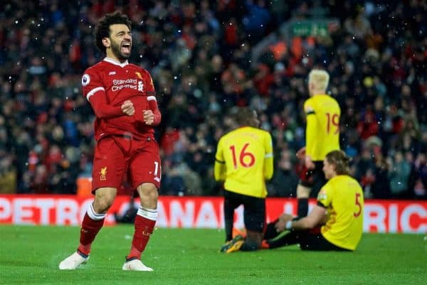LIVERPOOL, ENGLAND - Saturday, March 17, 2018: Liverpool's Mohamed Salah celebrates scoring the fourth goal, his hat-trick, during the FA Premier League match between Liverpool FC and Watford FC at Anfield. (Pic by David Rawcliffe/Propaganda)