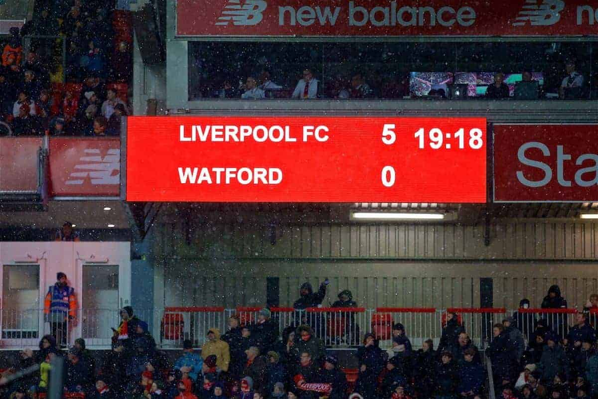 LIVERPOOL, ENGLAND - Saturday, March 17, 2018: Liverpool's scoreboard records the 5-0 victory over Watford during the FA Premier League match between Liverpool FC and Watford FC at Anfield. (Pic by David Rawcliffe/Propaganda)