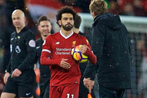 LIVERPOOL, ENGLAND - Saturday, March 17, 2018: Liverpool's four-goal hero, with his hat-trick match-ball after beating Watford 5-0 during the FA Premier League match between Liverpool FC and Watford FC at Anfield. (Pic by David Rawcliffe/Propaganda)