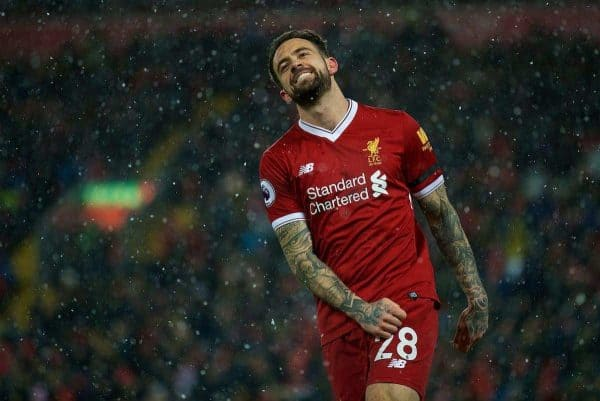 LIVERPOOL, ENGLAND - Saturday, March 17, 2018: Liverpool's Danny Ings reacts after a miss during the FA Premier League match between Liverpool FC and Watford FC at Anfield. (Pic by David Rawcliffe/Propaganda)