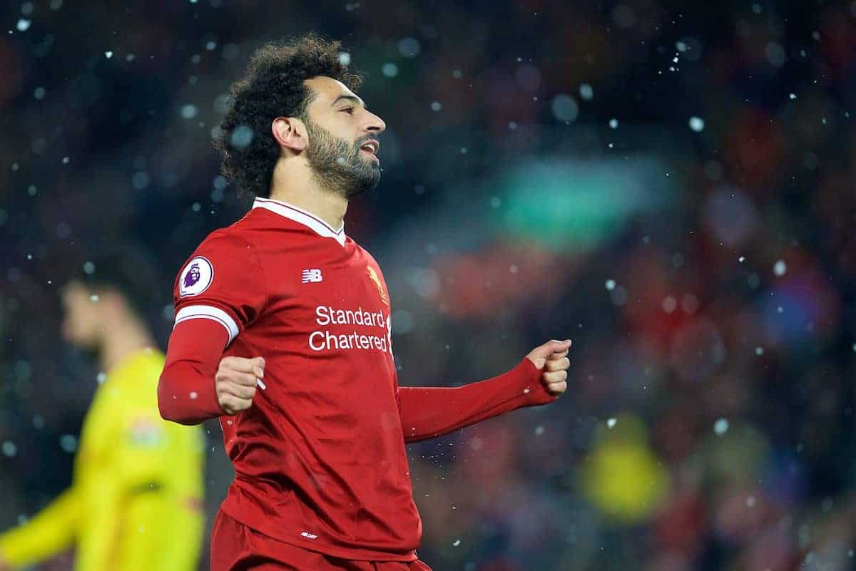 LIVERPOOL, ENGLAND - Saturday, March 17, 2018: Liverpool's Mohamed Salah celebrates scoring the fourth goal, the third of his hat-trick, during the FA Premier League match between Liverpool FC and Watford FC at Anfield. (Pic by David Rawcliffe/Propaganda)