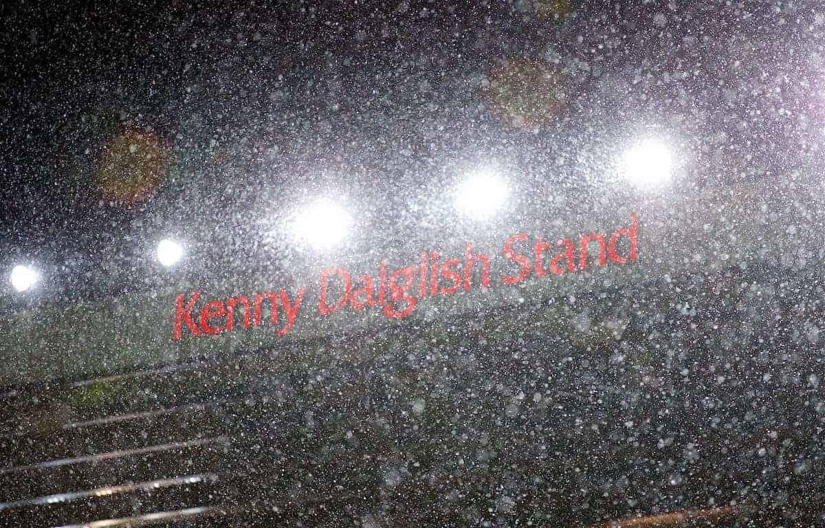 Snow, Anfield, Dalglish Stand(Pic by David Rawcliffe/Propaganda)
