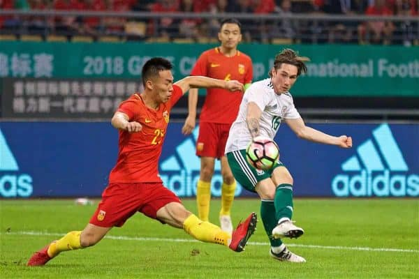 NANNING, CHINA - Thursday, March 22, 2018: Wales' Harry Wilson scores the fourth goal during the opening match of the 2018 Gree China Cup International Football Championship between China and Wales at the Guangxi Sports Centre. (Pic by David Rawcliffe/Propaganda)