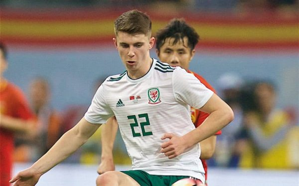 NANNING, CHINA - Thursday, March 22, 2018: Wales' Ben Woodburn during the opening match of the 2018 Gree China Cup International Football Championship between China and Wales at the Guangxi Sports Centre. (Pic by David Rawcliffe/Propaganda)