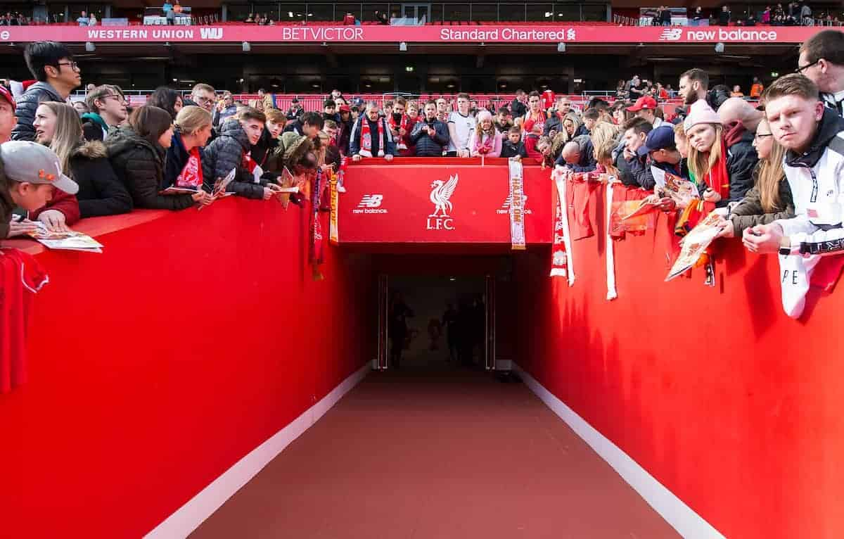 LIVERPOOL, ENGLAND - Saturday, March 24, 2018: A general view of the players tunnel leading to the pitch before the LFC Foundation charity match between Liverpool FC Legends and FC Bayern Munich Legends at Anfield. (Pic by Peter Powell/Propaganda)