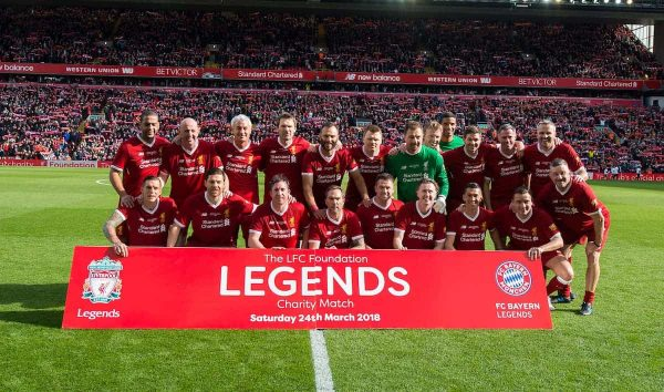LIVERPOOL, ENGLAND - Saturday, March 24, 2018: Liverpool Legends line up for a photograph before the LFC Foundation charity match between Liverpool FC Legends and FC Bayern Munich Legends at Anfield. (Pic by Peter Powell/Propaganda)