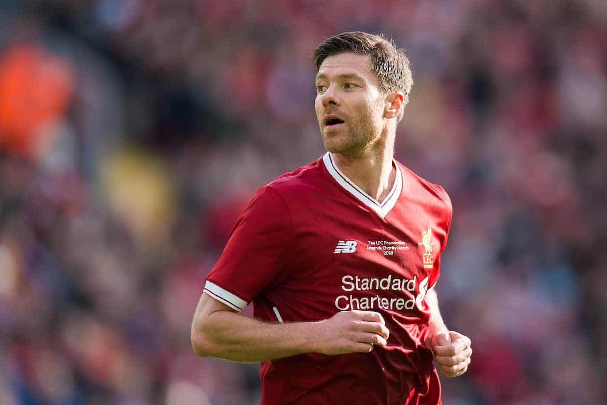 LIVERPOOL, ENGLAND - Saturday, March 24, 2018J. Xabi Alonso of Liverpool Legends during the LFC Foundation charity match between Liverpool FC Legends and FC Bayern Munich Legends at Anfield. (Pic by Peter Powell/Propaganda)