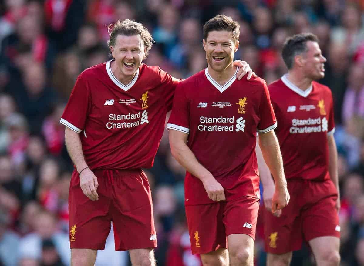 LIVERPOOL, ENGLAND - Saturday, March 24, 2018J. Xabi Alonso of Liverpool Legends is congratulate after scoring an own goal by Steve McManaman during the LFC Foundation charity match between Liverpool FC Legends and FC Bayern Munich Legends at Anfield. (Pic by Peter Powell/Propaganda)