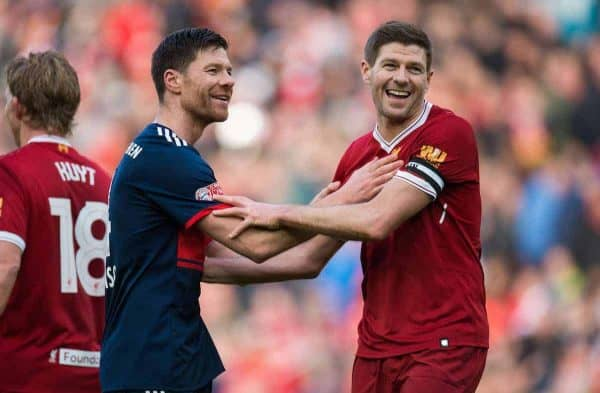 LIVERPOOL, ENGLAND - Saturday, March 24, 2018J. Steven Gerrard of Liverpool Legends with Xabi Alonso of FC Bayern Legends during the LFC Foundation charity match between Liverpool FC Legends and FC Bayern Munich Legends at Anfield. (Pic by Peter Powell/Propaganda)