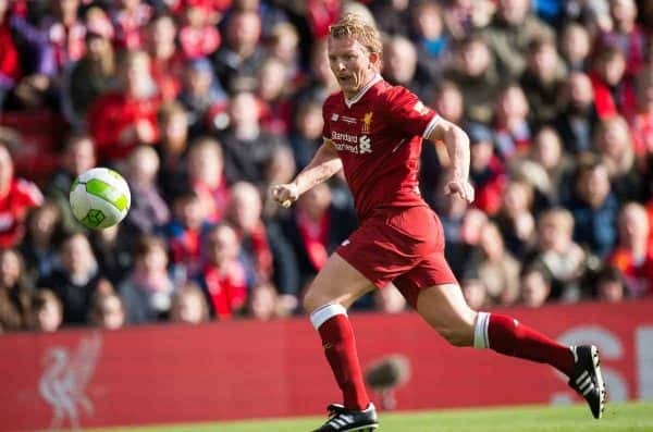 LIVERPOOL, ENGLAND - Saturday, March 24, 2018. Dirk Kuyt of Liverpool Legends in action during the LFC Foundation charity match between Liverpool FC Legends and FC Bayern Munich Legends at Anfield. (Pic by Peter Powell/Propaganda)