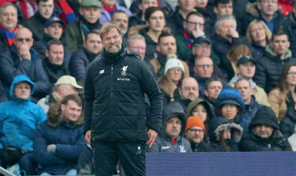 Liverpool's manager Jürgen Klopp reacts during the FA Premier League match between Crystal Palace FC and Liverpool FC at Selhurst Park. (Pic by Dave Shopland/Propaganda)