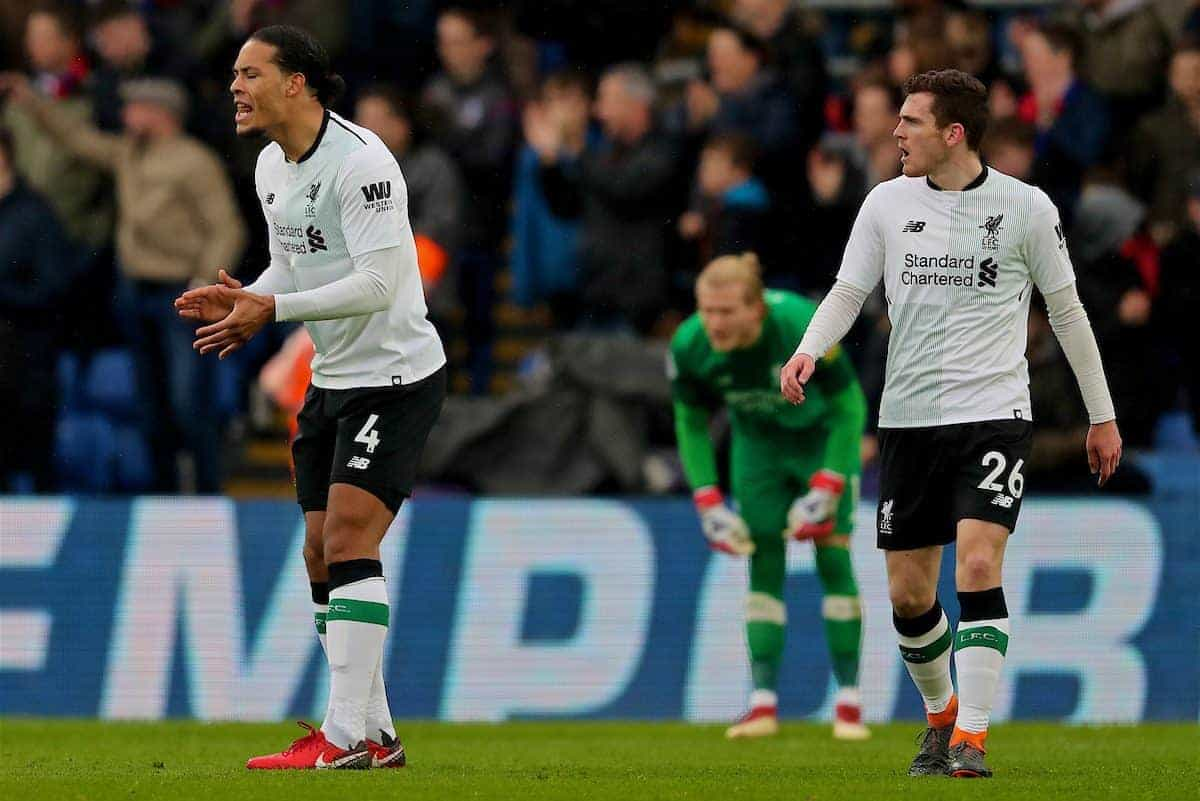 LONDON, ENGLAND - Saturday, March 31, 2018: Liverpool's Virgil van Dijk and Andy Robertson look dejected as Crystal Palace score the opening goal during the FA Premier League match between Crystal Palace FC and Liverpool FC at Selhurst Park. (Pic by Dave Shopland/Propaganda)